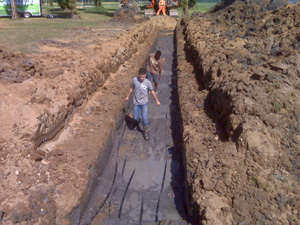 True Green Geothermal horizontal loop installation